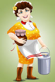 Woman milkmaid pitcher character cartoon style vector illustration white background isolated cut — Stock Photo
