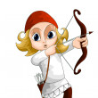 Child archer character cartoon style vector illustration white background isolated cut — Lizenzfreies Foto