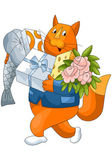 Cat gifts fish cheese flowers character cartoon style vector illustration white background isolated cut — Stock Photo