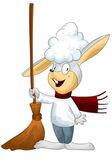 Rabbit grey broom character cartoon style vector illustration white background isolated cut — Stock Photo