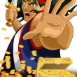 Man pirate treasure character cartoon style vector illustration — Stock Photo
