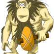 Animal gorilla mace ancient character cartoon style vector illustration white background isolated cut — Stock Photo