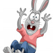 Rabbit fright falls character cartoon style vector illustration white background isolated cut — Foto de Stock
