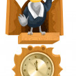 Bird cuckoo clock clipart cartoon style vector illustration white background isolated cut — Stock Photo