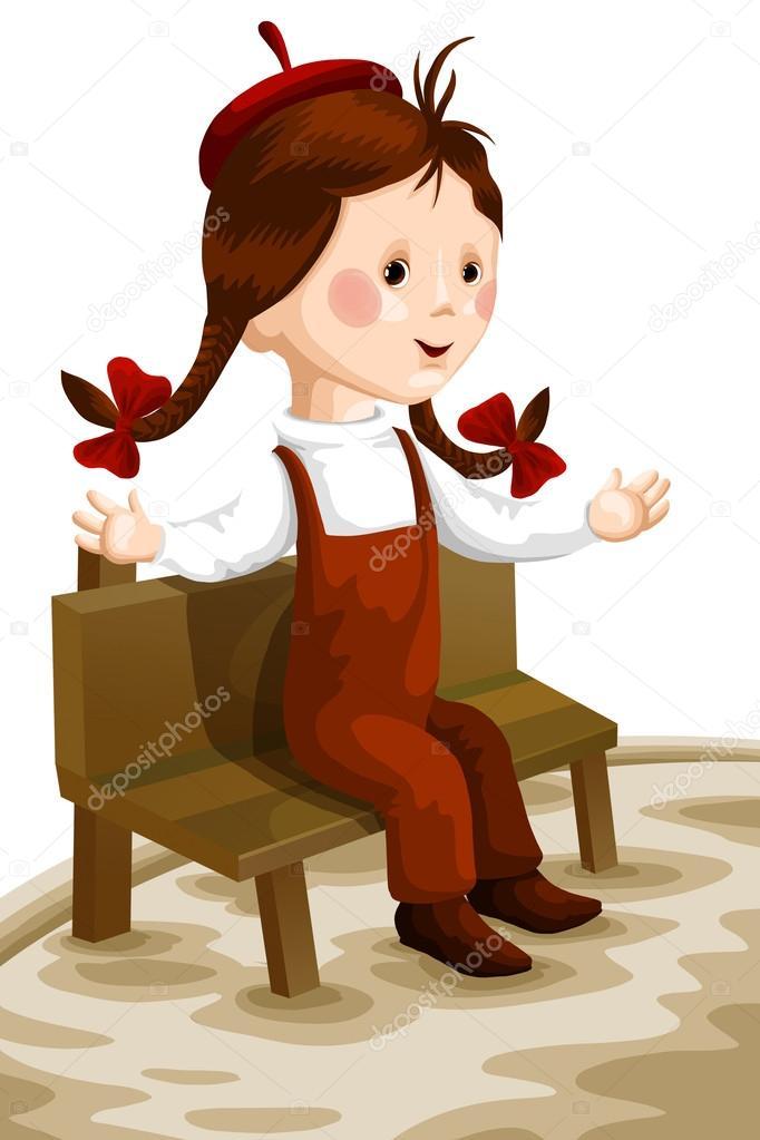 Banco de Sentarse Dibujo Chica Niño Sentarse Banco