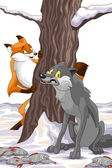 Fox wolf fishes tree snow character cartoon style vector illustration white background isolated cut — Stock Photo