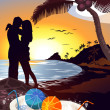 Beach sea sunset couple character cartoon style vector illustratration — ストック写真