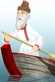 Old man boat oar river character cartoon style vector illustration — Stock Photo