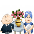 Man woman couple table vase sitting character cartoon style vector illustration white background isolated cut — Stock Photo