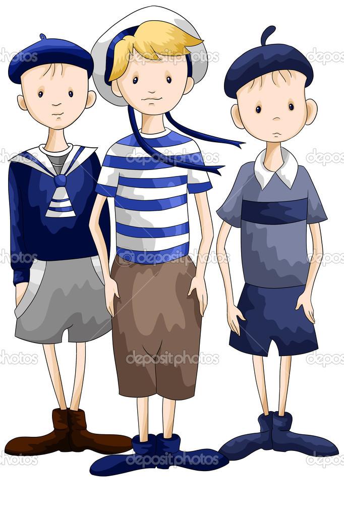 Marinai ragazzi del team personaggio dei cartoni animati