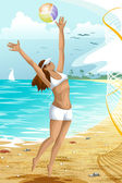 Girl sea beach volleyball character cartoon style vector illustration — Stock Photo