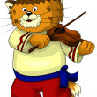 Cat red folk violin character cartoon style vector illustration white background isolated cut — Stock Photo #27096535