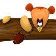 Teddy bear log character cartoon style vector illustration white background isolated cut — Stock Photo
