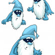 Gnomes grey beard blue clipart cartoon style vector illustration white background isolated cut — Stock Photo