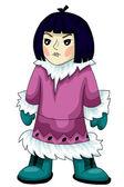 эскимосский персонаж женщина мультфильм стиль векторные иллюстрации белый фон изолированных вырезать — Стоковое фото