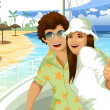 Man woman pair sea cruise character cartoon style vector illustration — Stock Photo