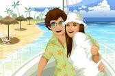 Man woman pair sea cruise character cartoon style vector illustration — Stock Photo