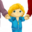 Child hold a hands character cartoon style vector illustration white background isolated cut — Stock Photo #27202073