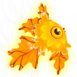 Fish golden shining character cartoon style vector illustration white background isolated cut — Stock Photo
