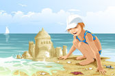 Girl child beach sand castle character cartoon style vector illustration — Stock Photo