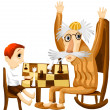 Stock Photo: Grandfather child chess character cartoon style vector illustratration white background isolated cut