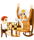 Grandfather child chess character cartoon style vector illustratration white background isolated cut — Stock Photo