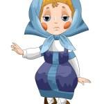 Girl child folk character cartoon style vector illustration white background isolated cut — Stock Photo