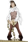 Hombre cadena prisionero personaje de dibujos animados estilo vector ilustración blanco fondo aislado corte — Foto de Stock