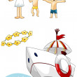 Stock Photo: Kids seboat flowers clipart cartoon style vector illustration white background isolated cut