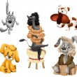 Animal dogs breeds clipart cartoon style vector illustration white background isolated cut — Stock Photo