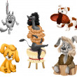 Stock Photo: Animal dogs breeds clipart cartoon style vector illustration white background isolated cut