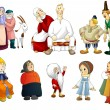 Man woman old young kids rural clipart cartoon style vector white background isolated cut — Stock Photo #27387959