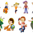 Girl boy children kindergarten clipart cartoon style vector white background isolated cut — Stock Photo #27388533