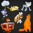 Animal cats clipart cartoon style vector illustration black background isolated cut — Stock Photo #27389077