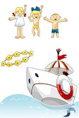 Kids sea boat flowers clipart cartoon style vector illustration white background isolated cut — Stock Photo