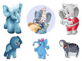 Animal elephants mammoth clipart cartoon style vector illustration white background isolated cut — Stock Photo