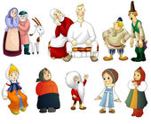 Man woman old young kids rural clipart cartoon style vector white background isolated cut — Stock Photo