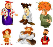 Man woman old girl rural folk clipart cartoon style vector illustration white background isolated cut — Stock Photo