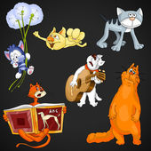 Animal cats clipart cartoon style vector illustration black background isolated cut — Stock Photo