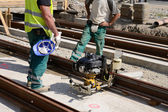 Workers on railway construction — Foto Stock