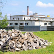 Concrete rubble debris in front of the factory — Stock Photo