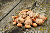 Walnuts and hazelnuts on wooden background — Stock Photo