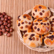 Tasty cookies with raisins and hazelnuts — Stock Photo
