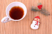 Tasty cookies with cup of tea — Foto Stock