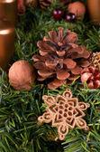 Advent wreath detail, closeup — Stok fotoğraf