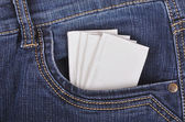 Paper handkerchief in the jeans pocket — Stock Photo