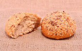 Bakery products on sackcloth — Stock Photo