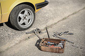 Tool kit on the asphalt — Stock Photo