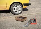 Tool kit on the asphalt — Stock Photo