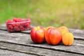 Fresh fruits on a wooden board — Stock Photo